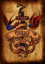 tattoo courage strength faith old skool swallow bright colour picture map