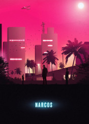 narcos escobar cali eighties nineties 1980 1990 drugs cocaine tropical south america colombia medellin cartel pena murphy cia military spy television drama palm beach city retro outrun pink sunset violence pablo rodriguez pacho herrera
