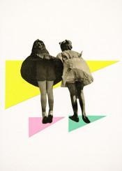children kids girls bridge geometric modern vintage playful pink green yellow grey people summer shapes retro