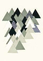 mountains alps nature landscape stripes dark grey white black winter abstract minimal collage modern