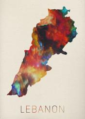 lebanon watercolor map