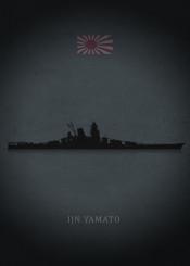 ijn yamato battleship ship weapon war japan world dark black