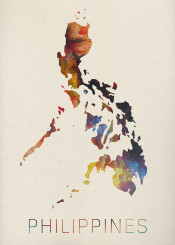 philippines watercolor map island asia vintage manilla