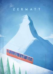 zermatt matterhorn mountain swiss alps switzerland train skiing resort snow vintage travel retro