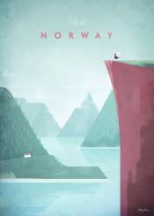 norway rock cliff mountains lake fjord wilderness wild cabin woman girl travel vintage retro illustration wanderlust
