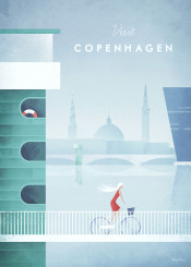 copenhagen denmark bike bicycle cycling river skyline girl woman architecture vintage travel retro illustration
