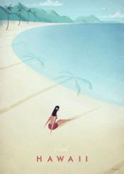 beach hawaii girl woman palm trees lagoon island tropical sunbathing holiday vacation vintage travel illustration