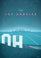 los angeles car night hills hollywood skyline pink blue sign vintage travel retro road illustration usa america california
