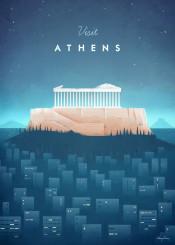 athens acropolis greece temple city architecture classical skyline night vintage travel retro illustration