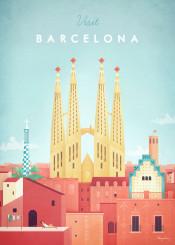 barcelona spain sagrada familia gaudi city architecture red park guell facade vintage travel retro illustration