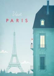 paris france city skyline vintage travel retro girl woman balcony eiffel tower architecture illustration