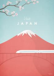 japan mount fuji mountain train bridge blossom cherry bullet red vintage travel retro illustration