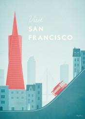 san francisco usa america skyline vintage travel retro illustration skyscraper tram city architecture
