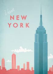 new york city architecture empire state buildling skyline travel vintage retro united states usa america