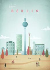 berlin germany park autumn fall skyline city architecture people vintage travel retro illustration tower skyscraper