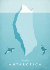 antarctica iceberg ice killer whales orca penguin ocean sea winter vintage travel retro illustration