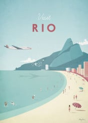 rio brazil beach people summer sun holiday vacation vintage travel retro plane sea ocean illustration skyline city