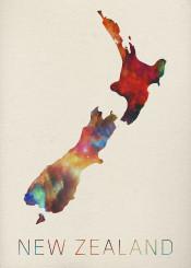 newzealand watercolor map