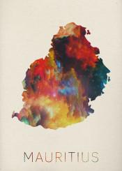 map watercolor mauritius