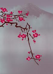 japan mountain fuji blossom cherryblossom fog vulcano asian oriental decorative