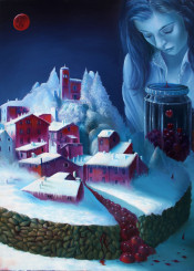 landscape movie novel cover surreal town snow blizzard