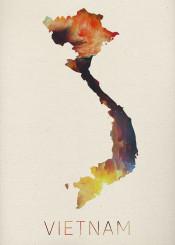 vietnam watercolor map hanoi