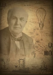 thomas edison greatest mind minds world worlds history genius vintage patent patents invention inventions inventors scientist scientists physics physicist technicias lab reasearcher einstein tesla posters displate science revolution engineer engineering technics phonograph camera photos electric light bulb