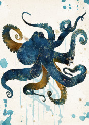 octopus ocean marin blue gold nature abstract contemporary watercolor digital dream underwater