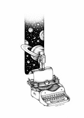 typewriter space stars planets astronaut