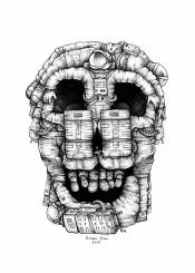 astronaut space skull dali