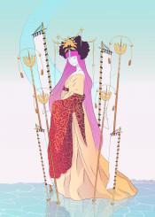 goddess fantasy kids magic moon sky girl woman dream clouds kimono illustration imagination ice water