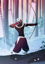 hunter forest sunset arrow bone man illustration digital fantasy trees kids lights