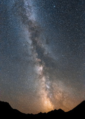 dreamscape space rockies mountains galaxy stars milkyway dust interstellar light luminous epic canada landscape scenic nature wild