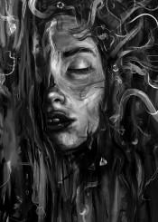 painting black white texture portrait sleep