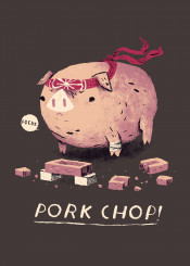pig pork pigs chop karate kid martial arts funny silly pun animals