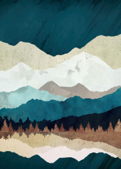 fall forest landscape nature digital watercolor abstract contemporary blue green white grey brown trees mountains dream wanderlust season