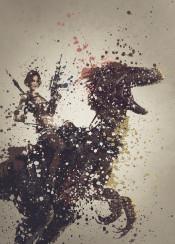 ark survival evolved woman gun raptor dinosaur splatter effect work