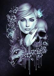 girl wold werewolf skull horror halloween tattoo flowers beautiful animal illustration cool cold blue gray indian dreamcatcher earrings paint ink dark ring eyes girlfriend drips