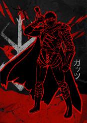 guts beserk red anime ink inking japanese japan cross crimson kill swords sword strong brutal murder dark fanfreak cape hero power knife kanji