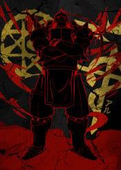 alphonse elric anime manga ink inking armour cool vintage blood ground japanese japan marker transmutation red crimson magic achemist full metal fma brotherhood