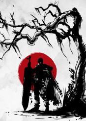 guts berserk anime manga japan sun nature warrior