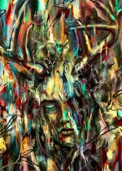 painting portrait face colors melt texture drawing antler