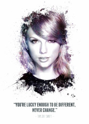 taylor swift taytay tay singer songwritter song writter country music pop sings famous celebrity beautiful woman award winner voice legend legends legendary iconic icon famous swav cembrzynski collection splatter texture water color white purple quote quotes inspiration inspirational are lucky enough be different never change displate awesome