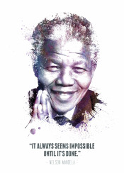 nelson mandela famous iconic icon legend legends legendary celebrity peace peaceful kind quote swav cembrzynski collection black african american nobel prize water color splatter texture quotes it always seems impossible until done inspiration inspirational purple it