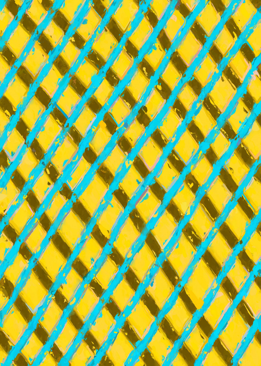 line pattern painting abstract background in yello