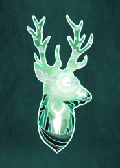 stag deer dverissimo designstudio animal nature drawing spirit mystic winter fantasy dream night moon lunar moonlight silhouette illustration green scenic