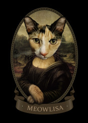 cat monalisa leonardodavinci antique decor