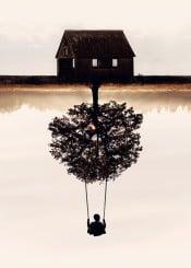 house tree nature boy swing doubleexposure surreal