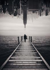 man dock water nyc doubleexposure surreal