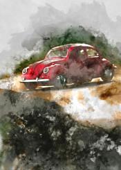 cars vintage watercolor